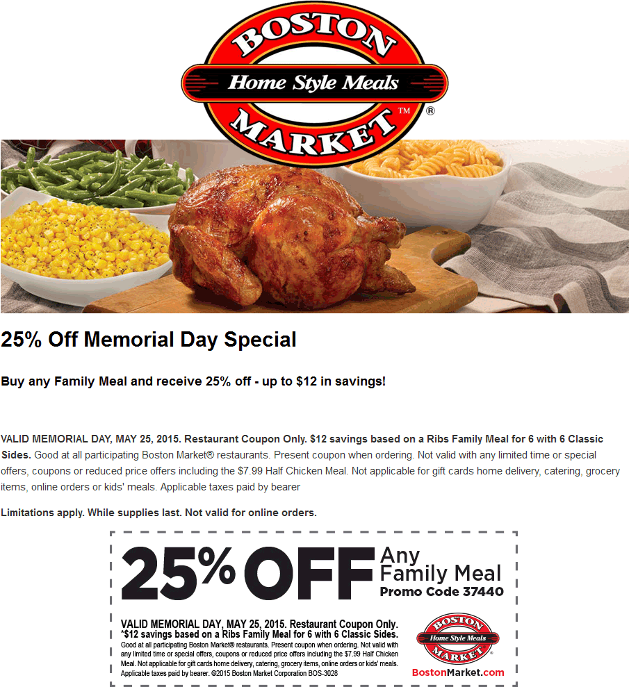 Boston Market Deal! Boston market, Family meals, Meals