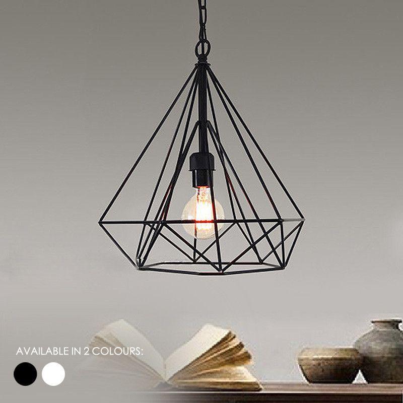 Geometric Diamond Wire Cage Pendant Light   Modern minimalist ...