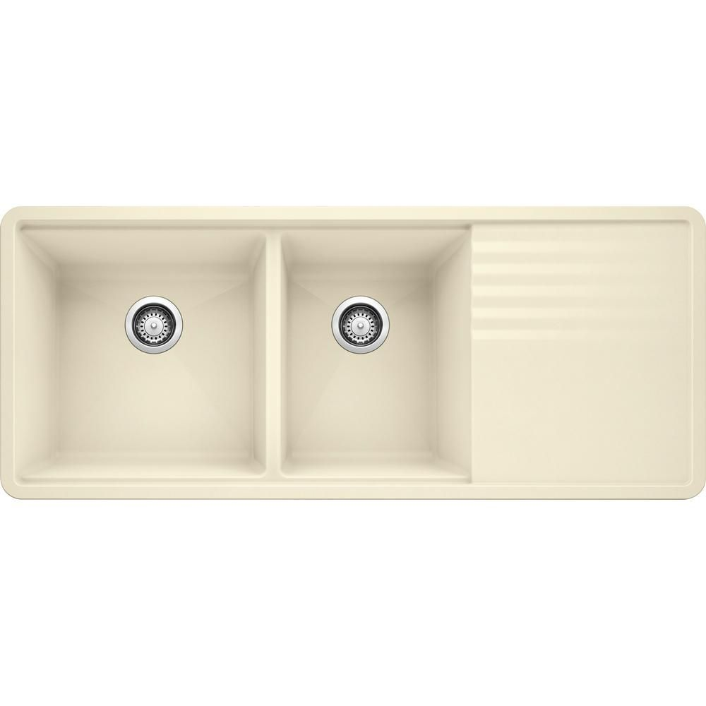 Blanco Precis Undermount Granite Composite 48 In 60 40 Double Bowl Kitchen Sink With Drainer In Biscuit 440409 The Home Depot In 2020 Double Bowl Kitchen Sink Drainboard Sink Kitchen Sink