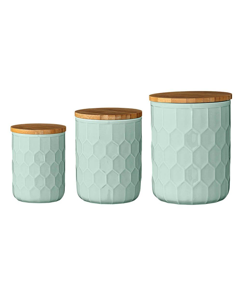Mint Ceramic Jars w/ Bamboo Lids - Set of 3 | Kitchen decor ...