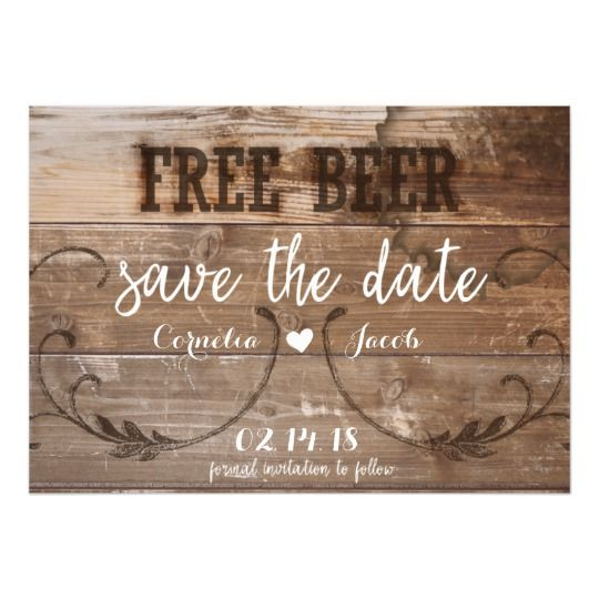 rustic wood free beer funny save the date magnet in 2018 weddings