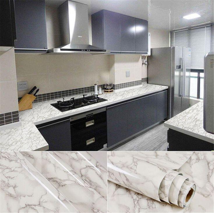 60cmx5m Marble Contact Paper Self Adhesive Wallpaper Vinyl Pvc Bathroom Kitchen Counter Top Table Door Home De Faux Marble Countertop Cool Kitchens Countertops