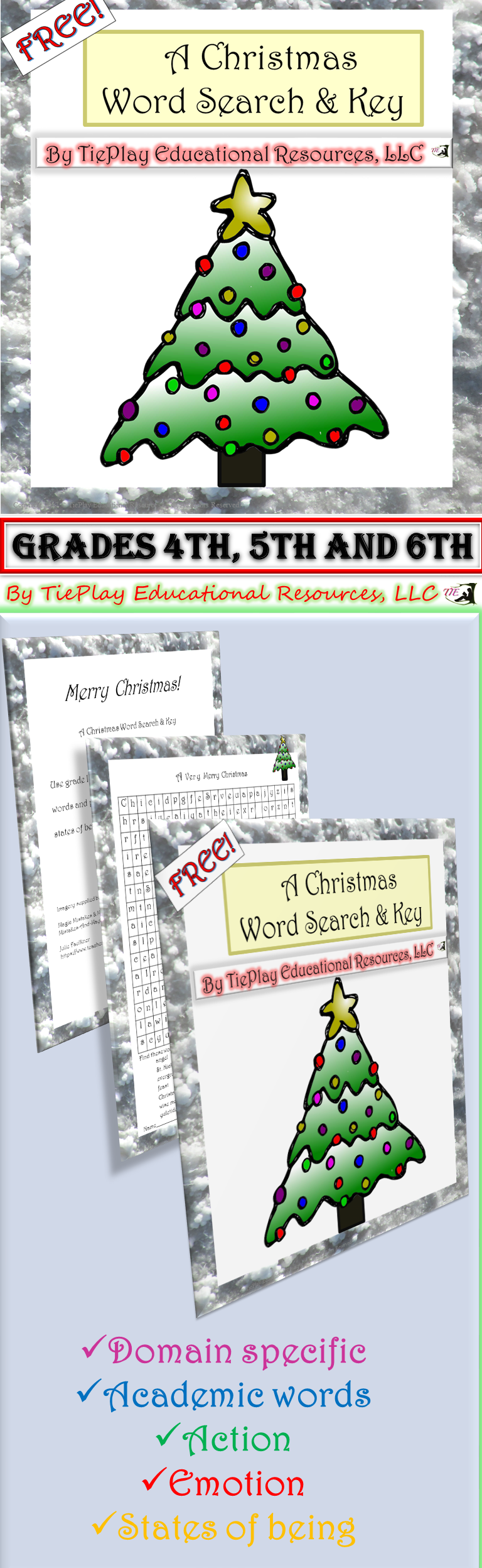 Free: A Christmas Freebie Word Search and Key targeted for ...