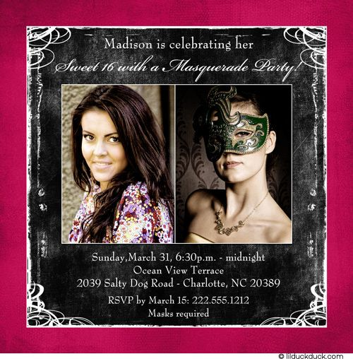 Square Masquerade Sweet 16 Invitation Party 2 Photos Sweet 16