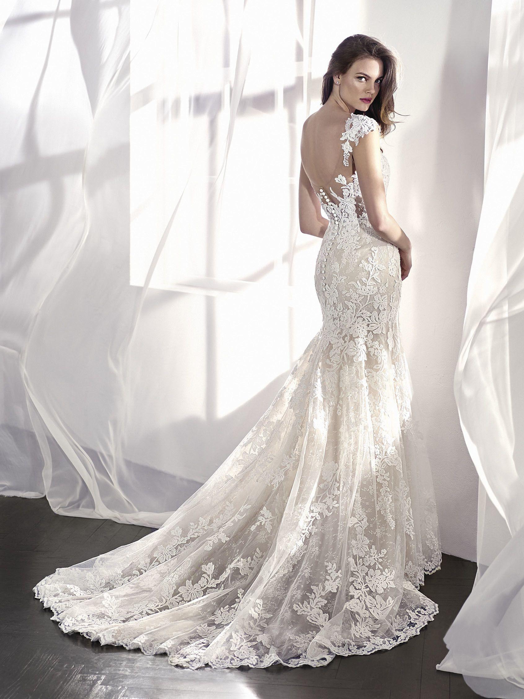 LETICIA. Vestido de novia de transparencias con corte sirena y sin ...