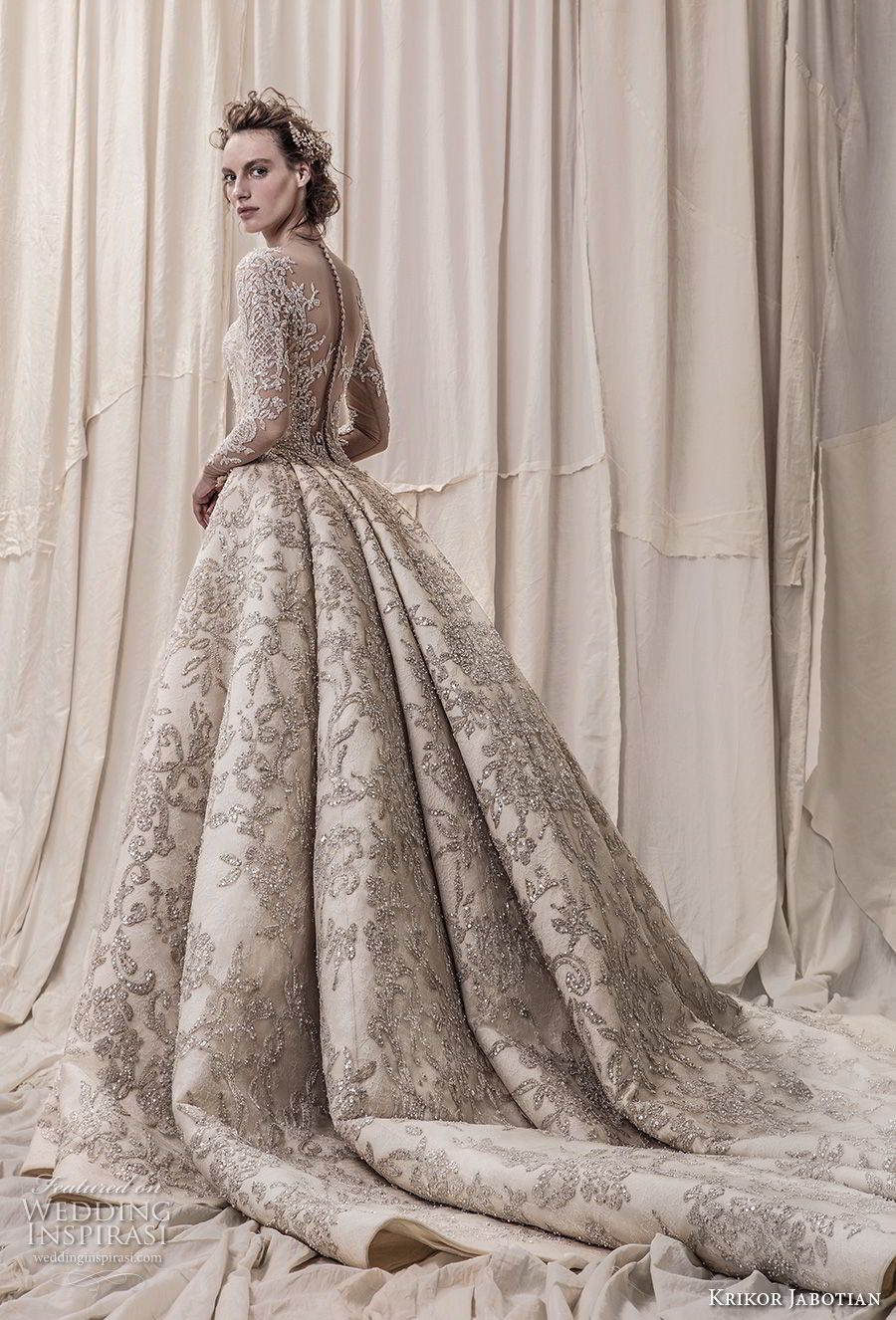 a839cb1b4b8eb krikor jabotian spring 2018 bridal long sleeves scoop neck full  embellishment glamorous princess ball gown a line wedding dress sheer  button back royal ...