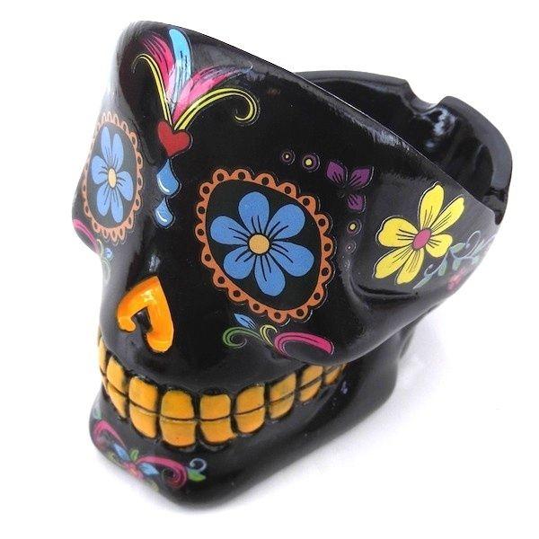 Cendrier Tête de Mort Noire en résine - Cendrier Crâne Mexicain