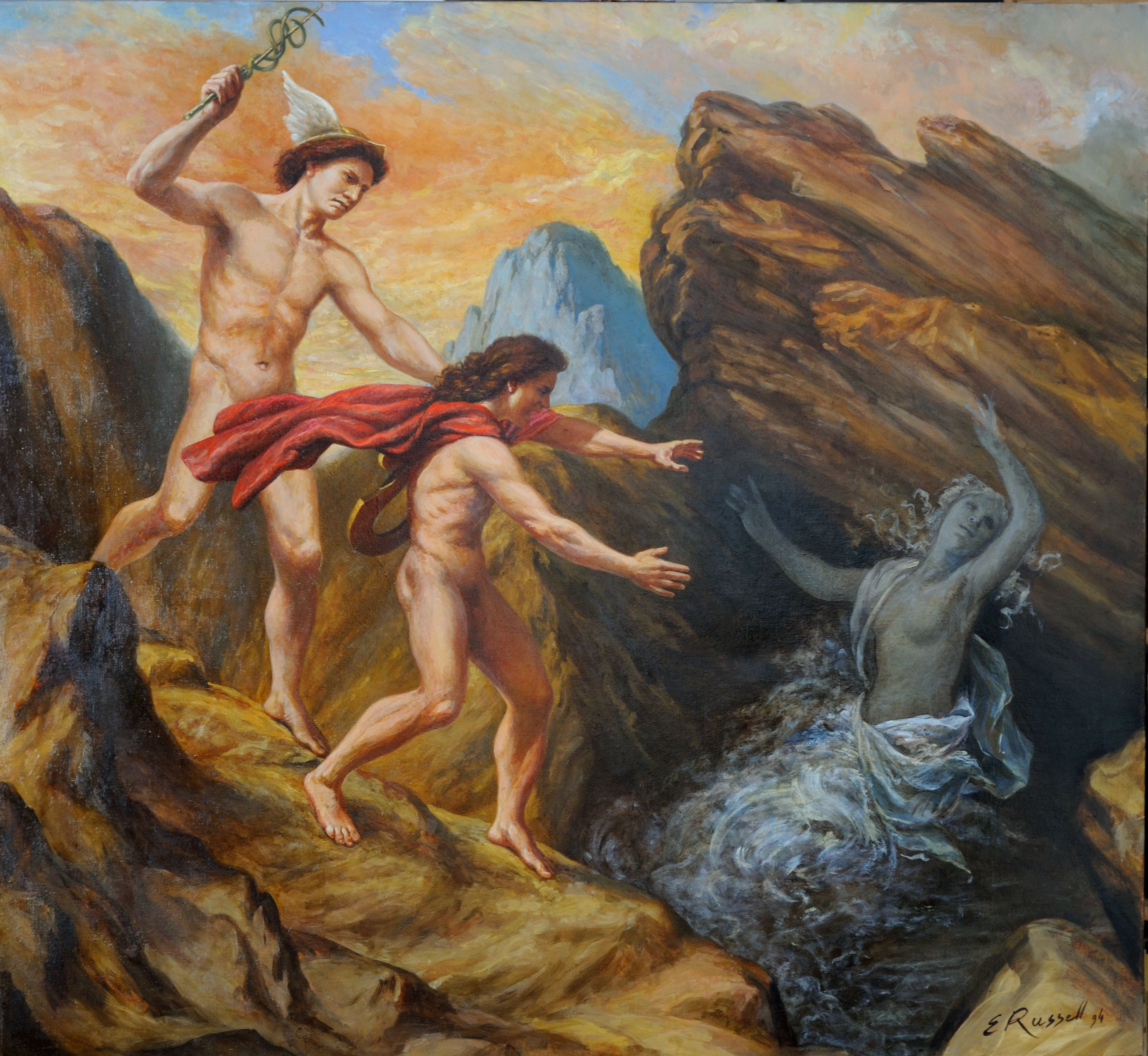 """orpheus and euriice The orpheus myth has taken on new meanings as it's been retold and  and set  to christoph willibald gluck's 1762 opera """"orfeo ed euridice."""