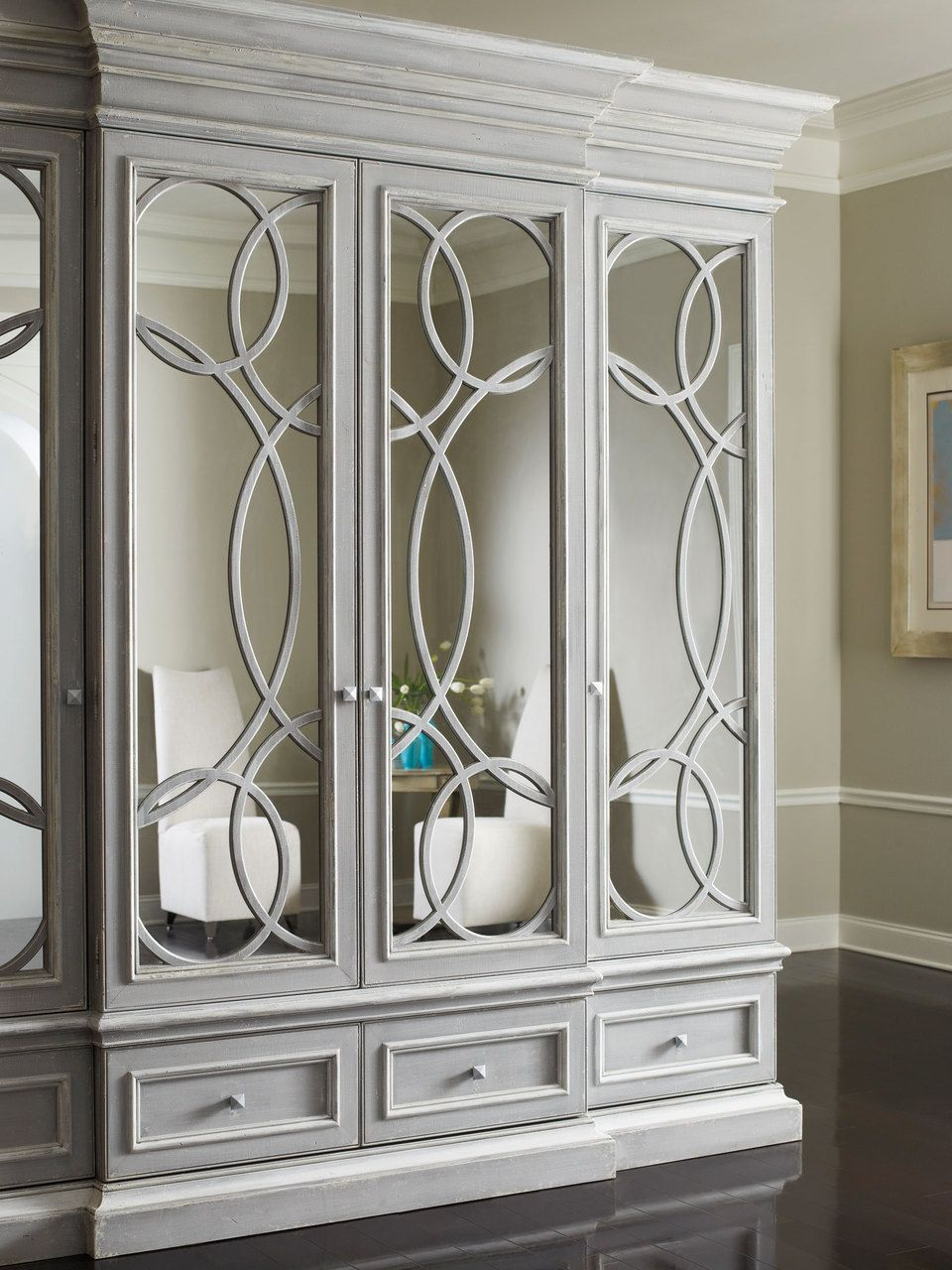 This East Hampton Media Cabinet With Mirrored Doors By Habersham Would Be An Elegant Way To Hid Mirrored Cabinet Doors Habersham Furniture Living Room Cabinets
