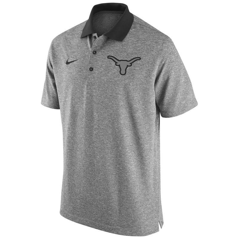 Texas Longhorns Nike Gridiron Grey Polo - Heathered Black