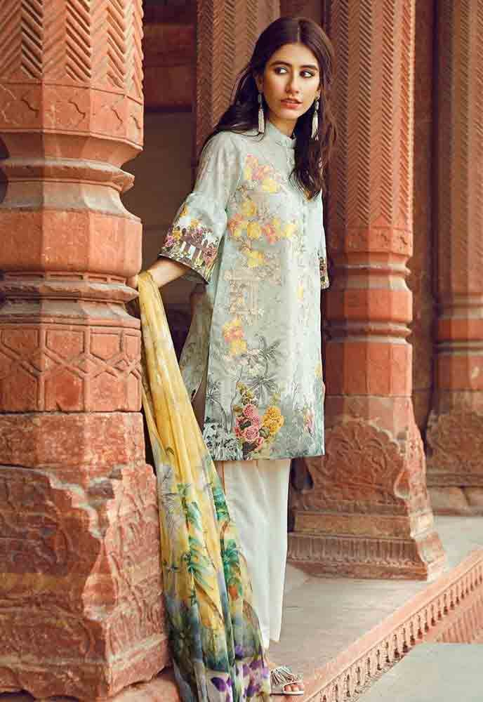 d62f70006c Cross Stitch light blue and yellow new eid dress designs for girls in  Pakistan 2017