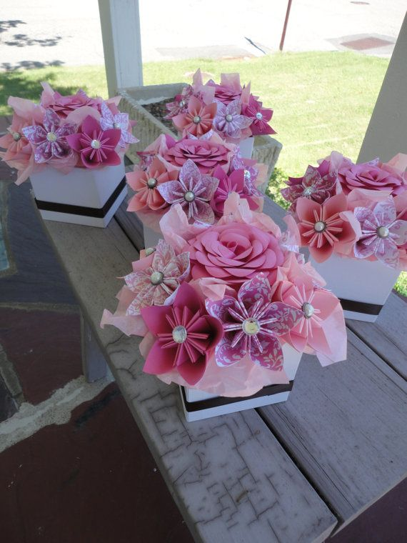 Origami Paper Flower Centerpiece Set Of 5 Kusudama Pink Small Wedding Center