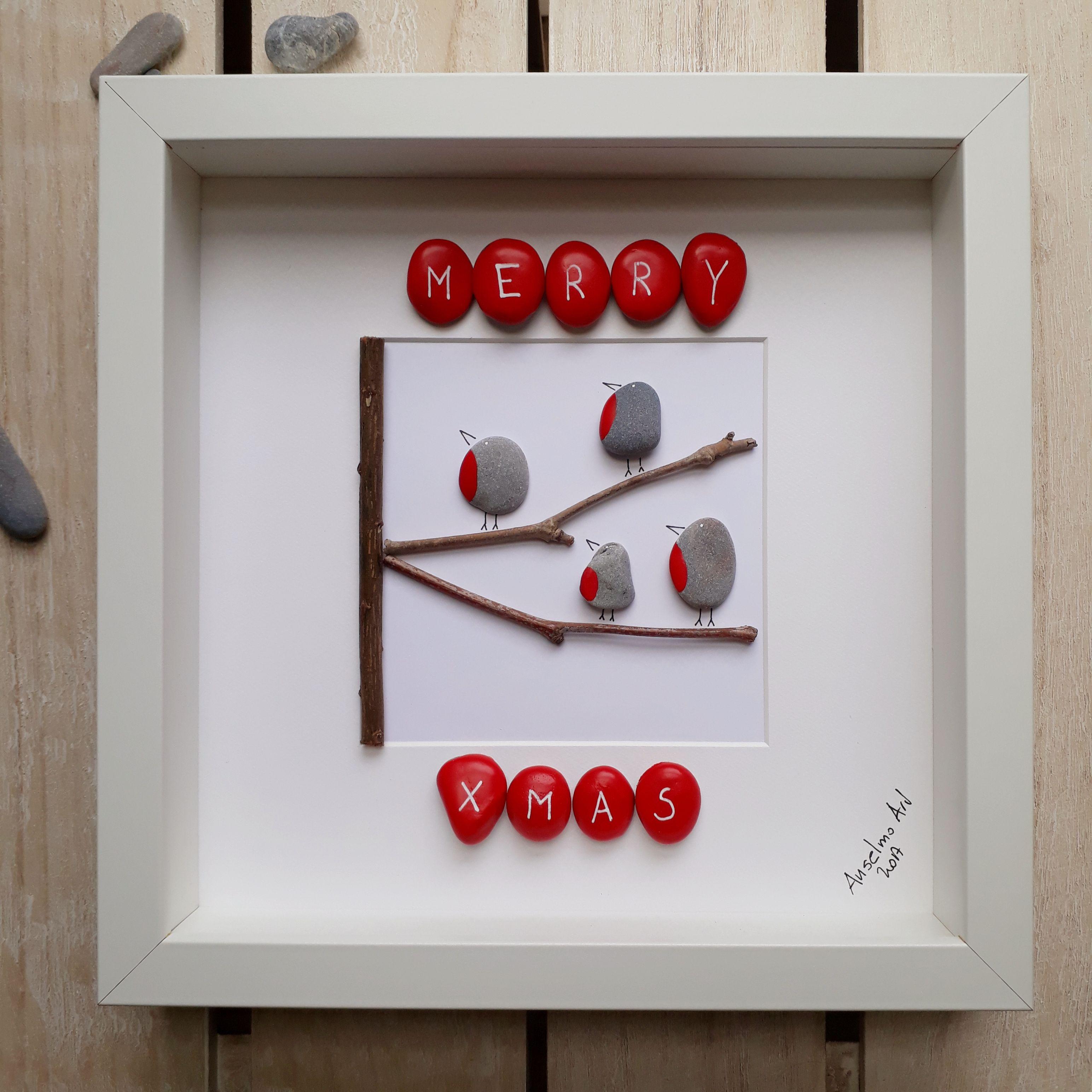 Robin Pebble Picture, Christmas Pebble Art, Anselmo Pebble Art