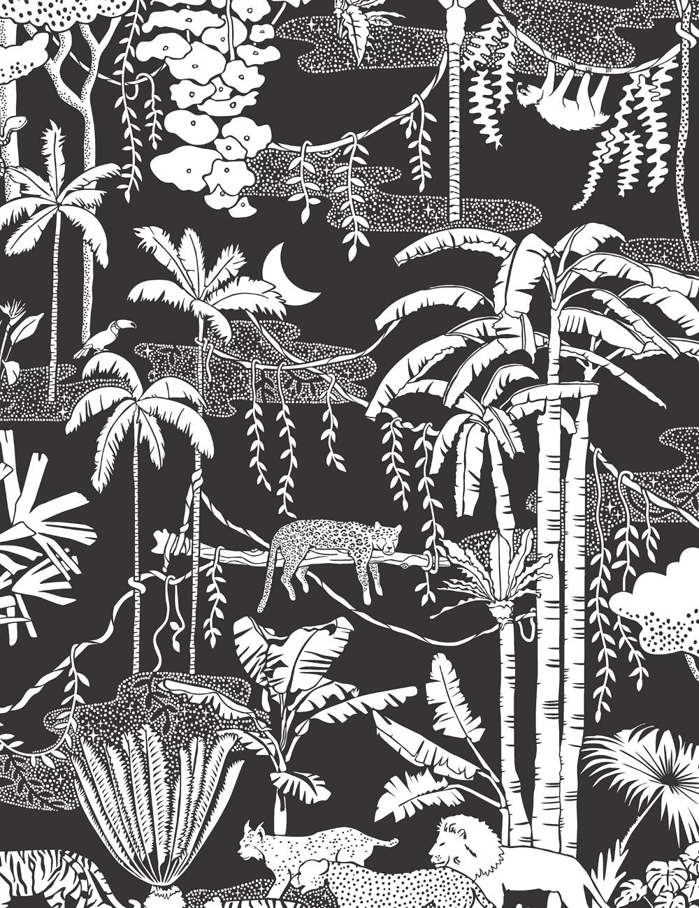 Jungle Dream Contrast Vinyl wallpaper, Jungle pattern