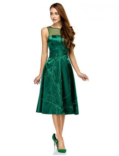 3f0960593e6 Australia Cocktail Party Dress Dark Green A-line Scoop Short Knee-length  Charmeuse Formal Dress Australia