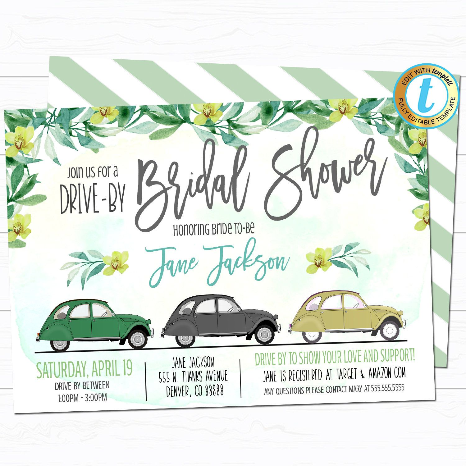 Drive By Bridal Shower Parade Invitation Virtual Wedding Etsy In 2020 Bridal Party Invitations Wedding Party Invites Bridal Shower Invitations