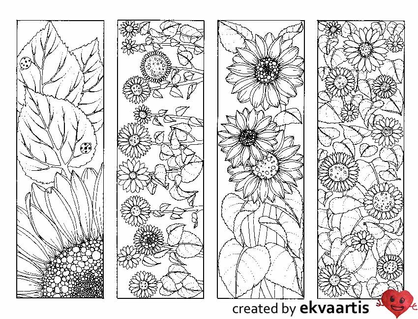 Sunflower Bookmarks To Color In 2021 Coloring Bookmarks Coloring Pages Flower Drawing