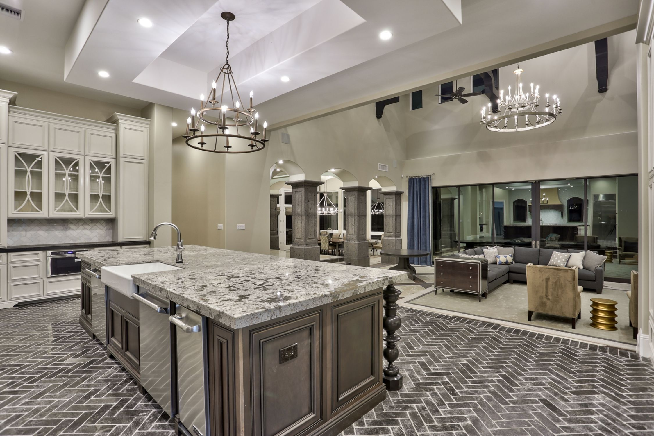 Transitional Home Design Gourmet Kitchen Steps Down