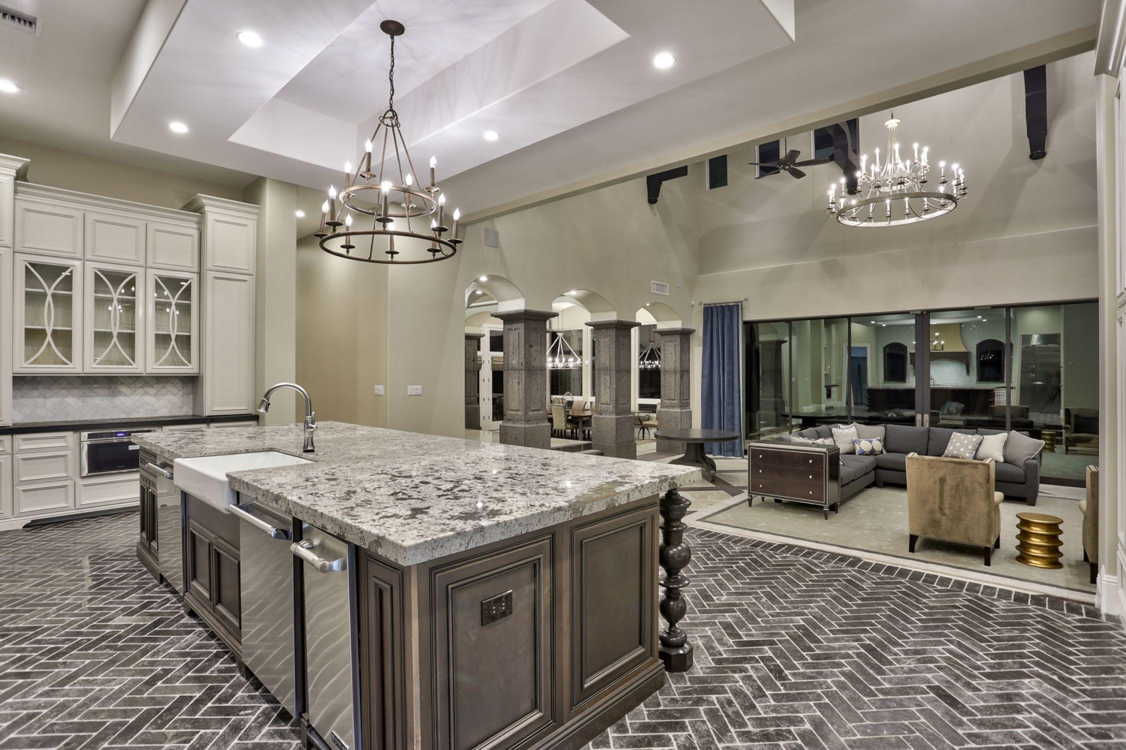 Transitional home design gourmet kitchen steps down for Gourmet kitchen design