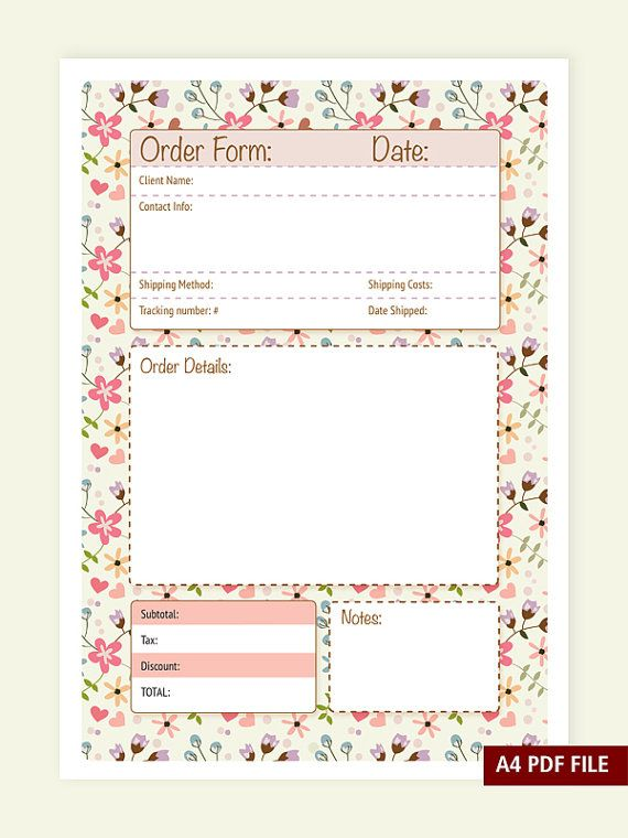 Order Form A4 PDF file Instant Download by VeroGOBET on Etsy - printable order form