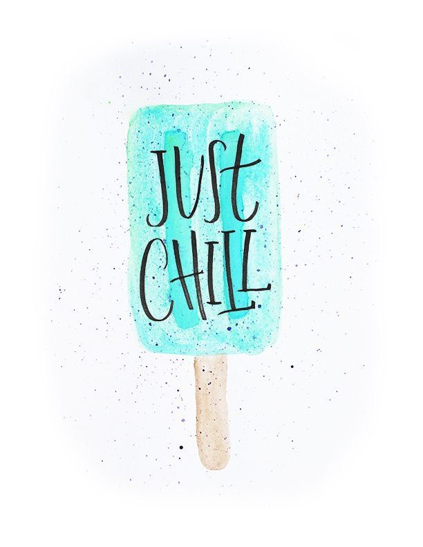 Calligraphy Watercolor Print Chill Printable Wallpapers Etsy Poster Happy Summer