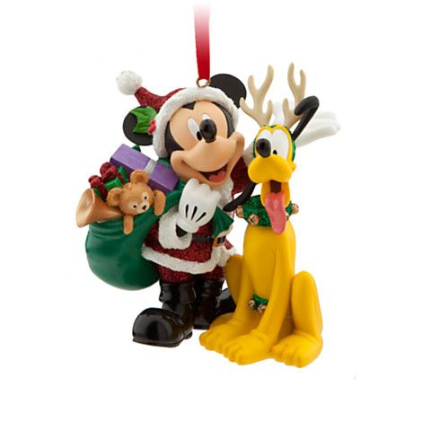 Santa Mickey Mouse and Pluto Ornament   Ornaments   Disney Store