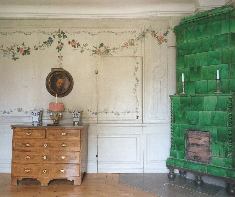 Taking a step back, you see that the stove becomes the focal point of this delightful small sitting room.