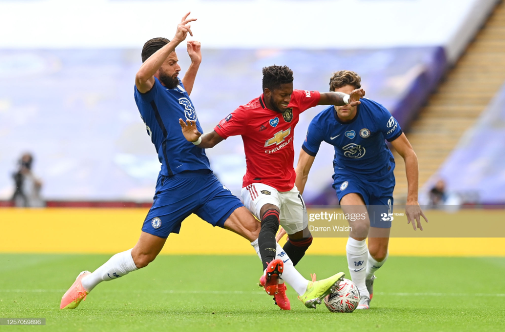 Olivier Giroud Of Chelsea Battles For Possession With Fred Of In 2020 Chelsea Battle Manchester United