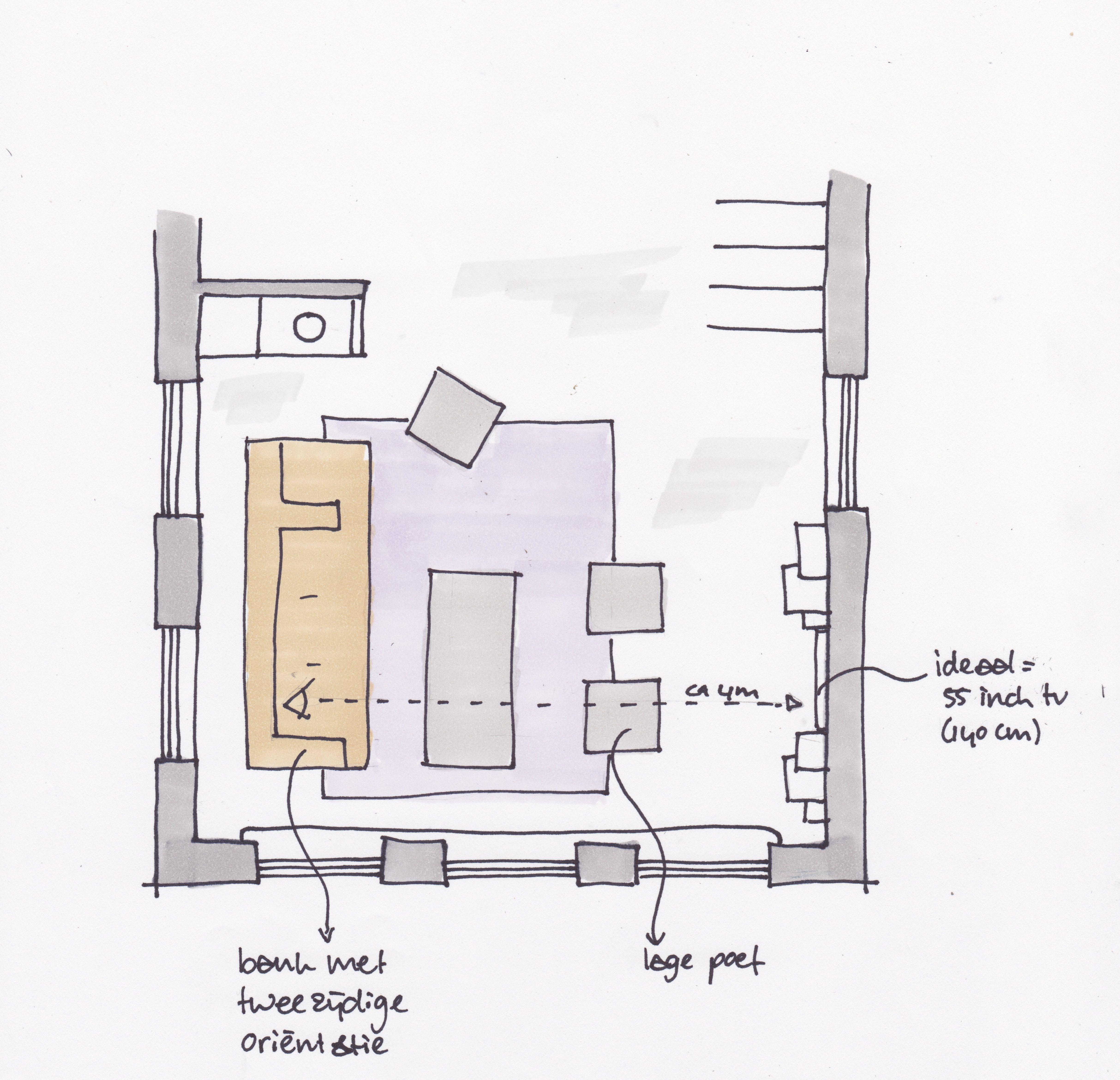 voorstel plattegrond woonkamer met zithoek met tweezijdige ...