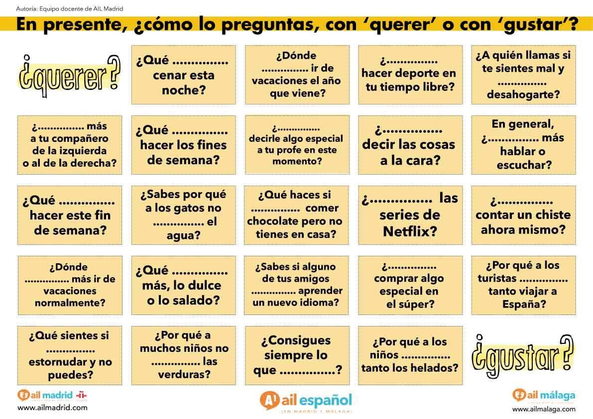 Actividad De Español Para Practicar Con Los Verbos Querer Y Gustar Ail Madrid Actividades De Español Ejercicios De Español Español