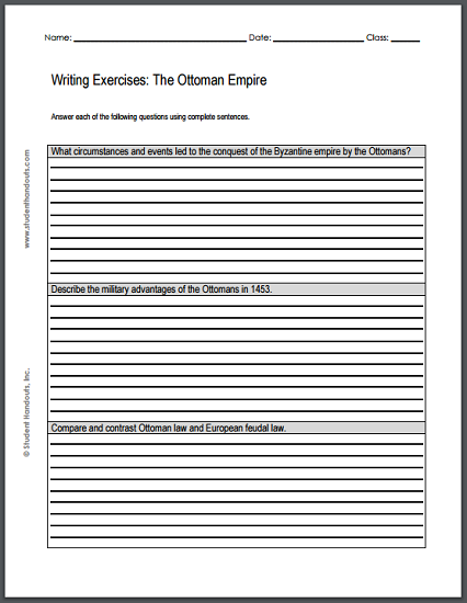 Adjectives Worksheet 5th Grade Pdf Ottoman Empire Writing Exercises  Free Printable Worksheet Pdf  Printable Symmetry Worksheets with Long Addition Worksheet Excel Ottoman Empire Writing Exercises  Free Printable Worksheet Pdf With  Three Short Essay Questions Function Notation Worksheet Excel