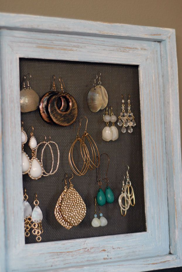 Earring Organization idea made with a frame and window screening ...