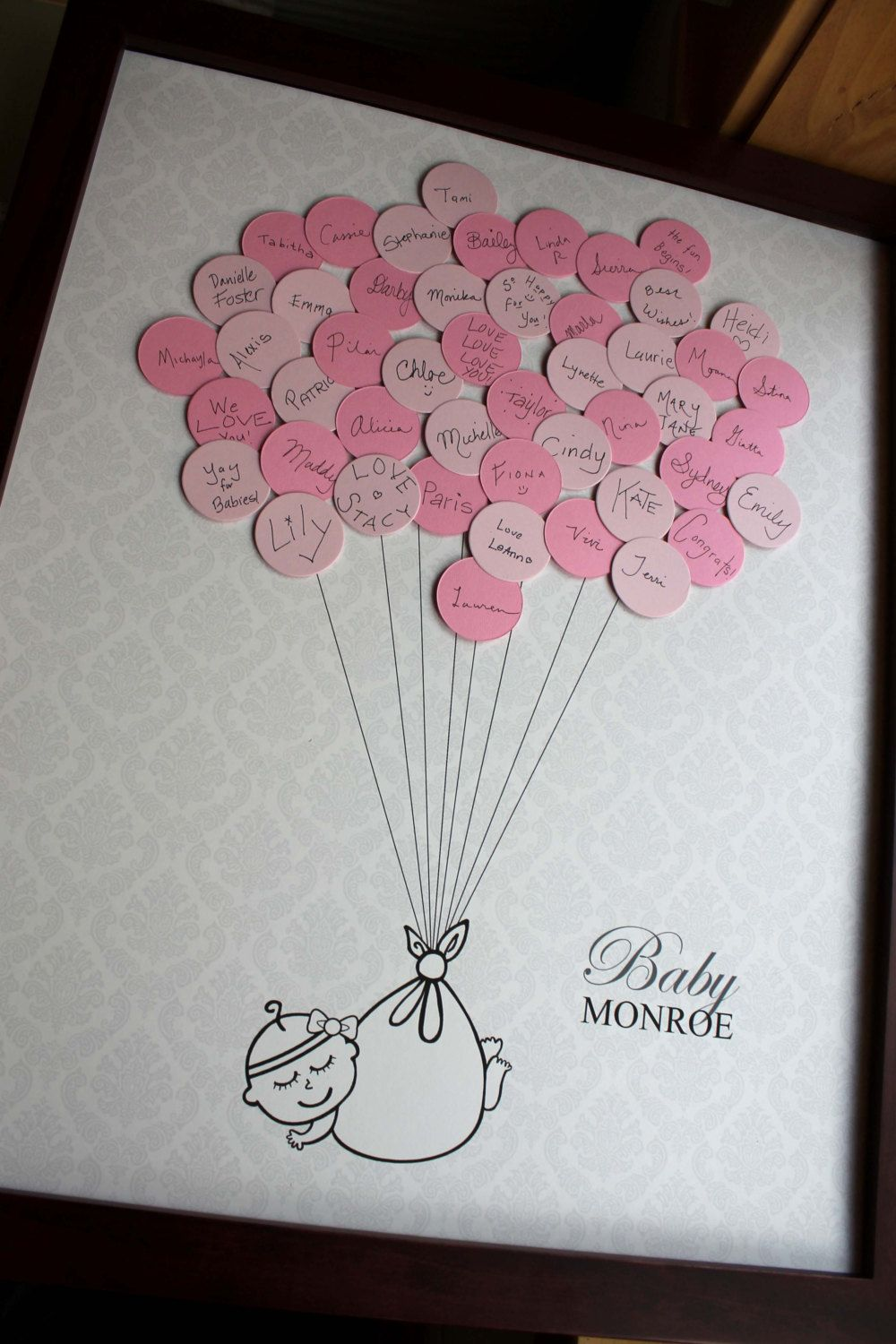 bridal shower keepsake book%0A Baby Shower Guestbook Damask Background  Girl
