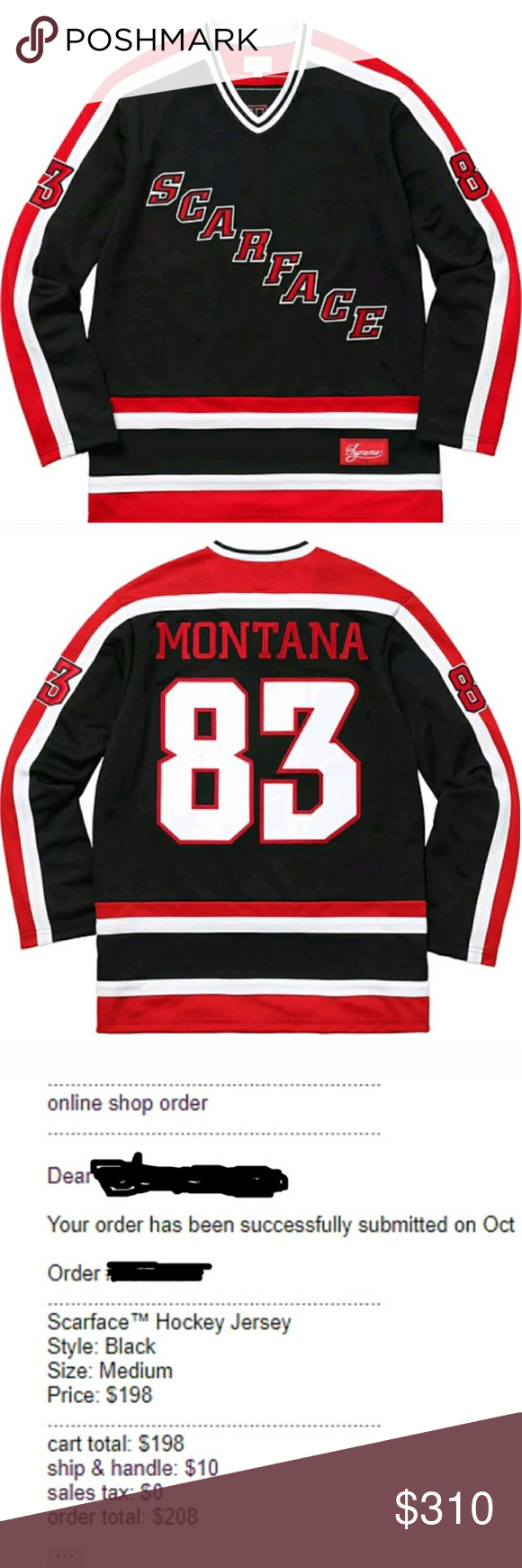 Supreme Scarface Hockey Jersey Medium Hockey Jersey Supreme Shirt Scarface [ 1740 x 580 Pixel ]