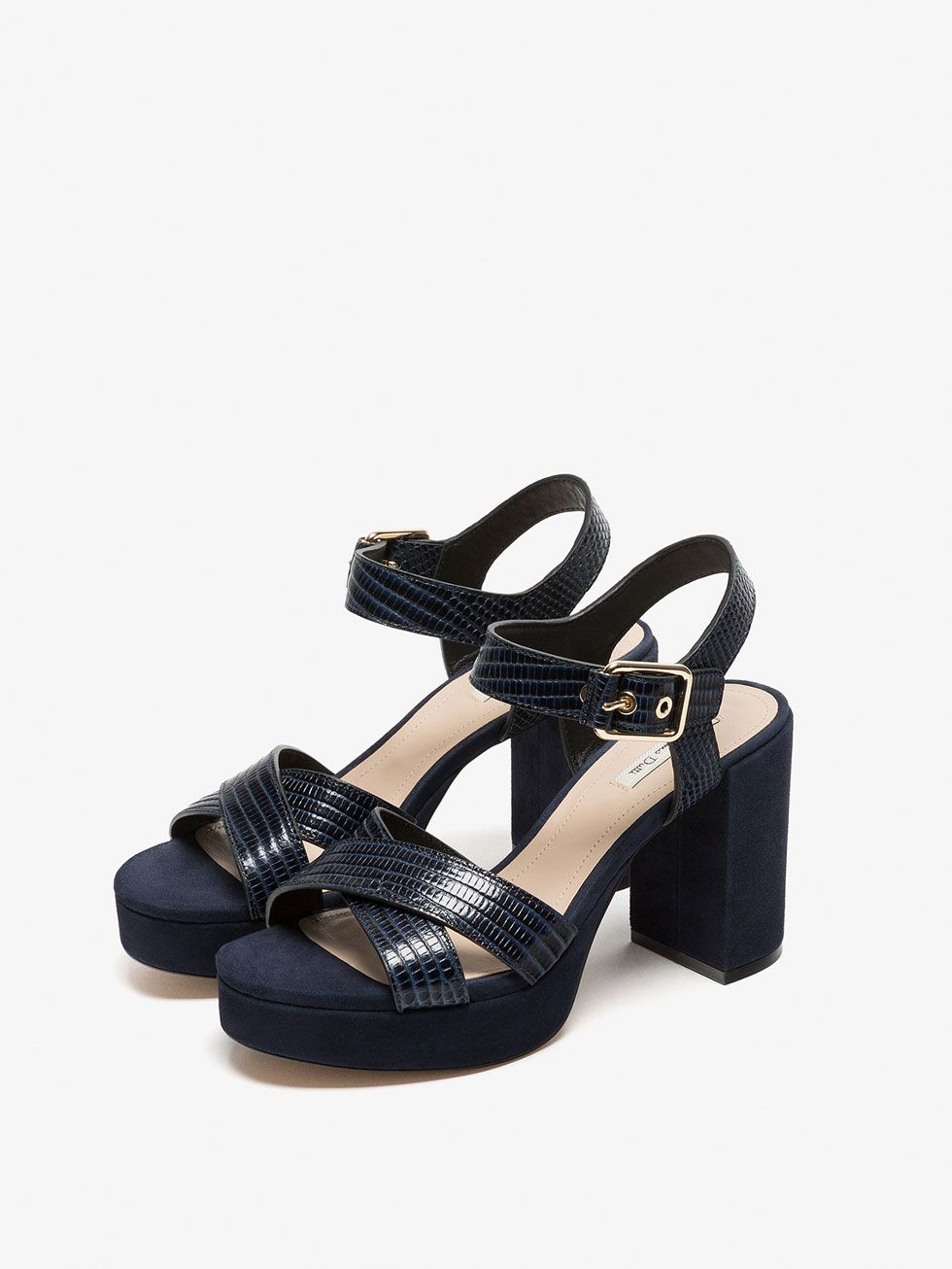 Plataforma Piel Zapatos Tacón Sandalias Sandalia De Mujer Azul 2DEHIeWY9