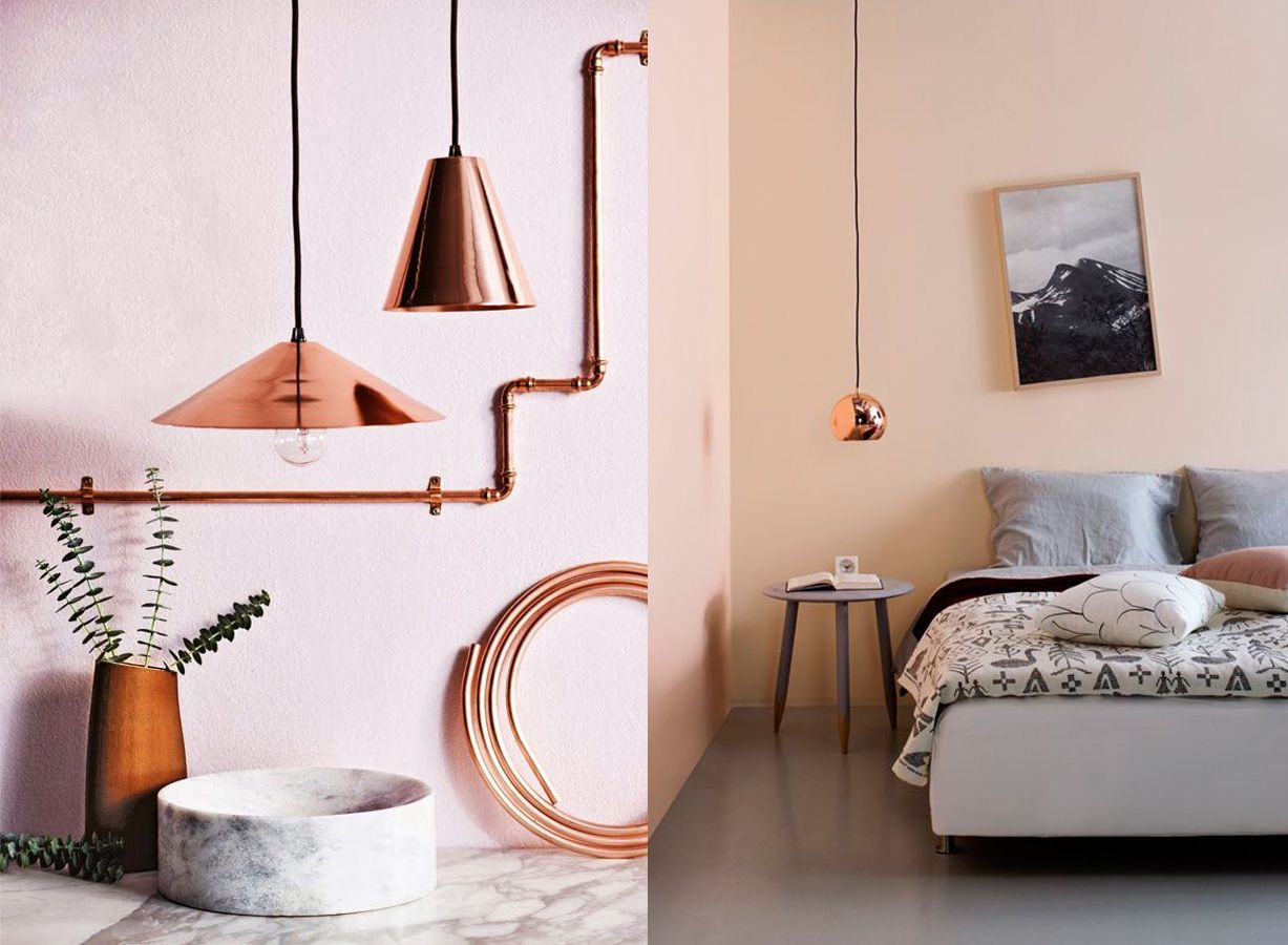 inspiration d co mur rose et cuivre rose poudr dans la. Black Bedroom Furniture Sets. Home Design Ideas