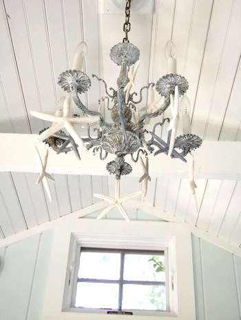 Starfish Embellishments On Old Chandelier For Beach Cottage