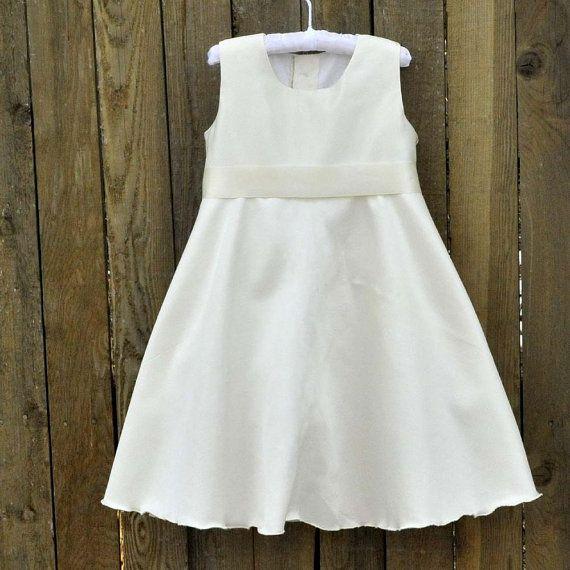 White Ivory Satin Flower Girl Dress Design by SageNThymeDesigns, $70.00