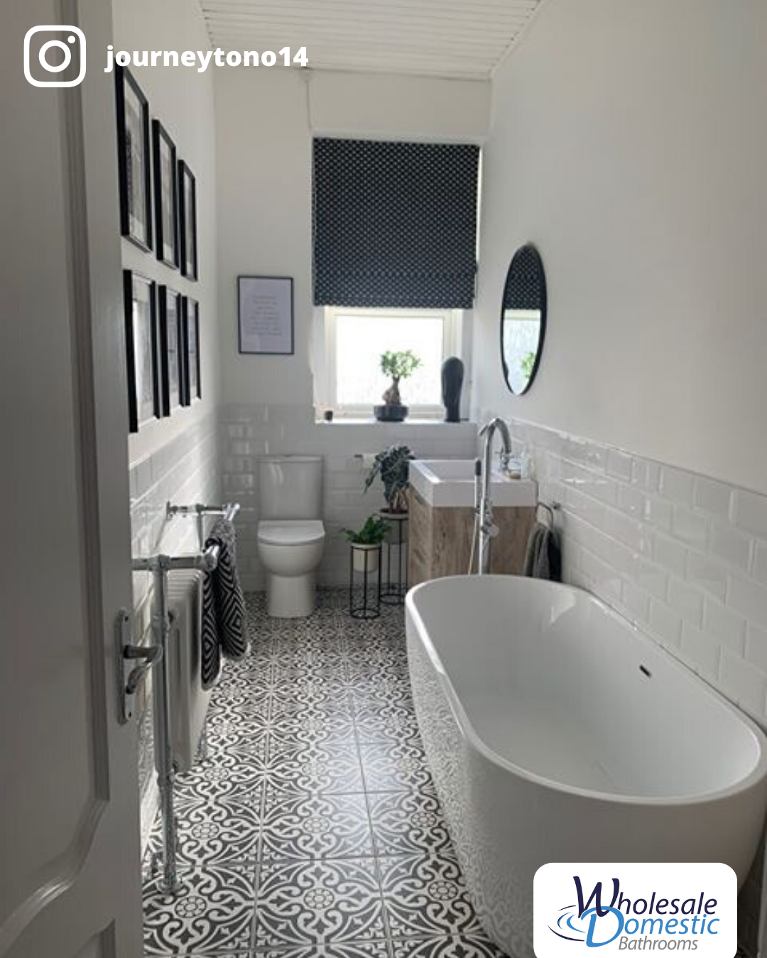 What a beautiful use of space! We love what this customer has done with their new bathroom!   #WholesaleDomesticBathrooms #CustomerBathrooms #MYWDBathroom #RealBathrooms #BathroomIdeas #BathroomInspo #NewIdeas #InteriorIdeas #InteriorDesign #FreestandingBath #VintageRadiator #IHaveThisThingWithTiles