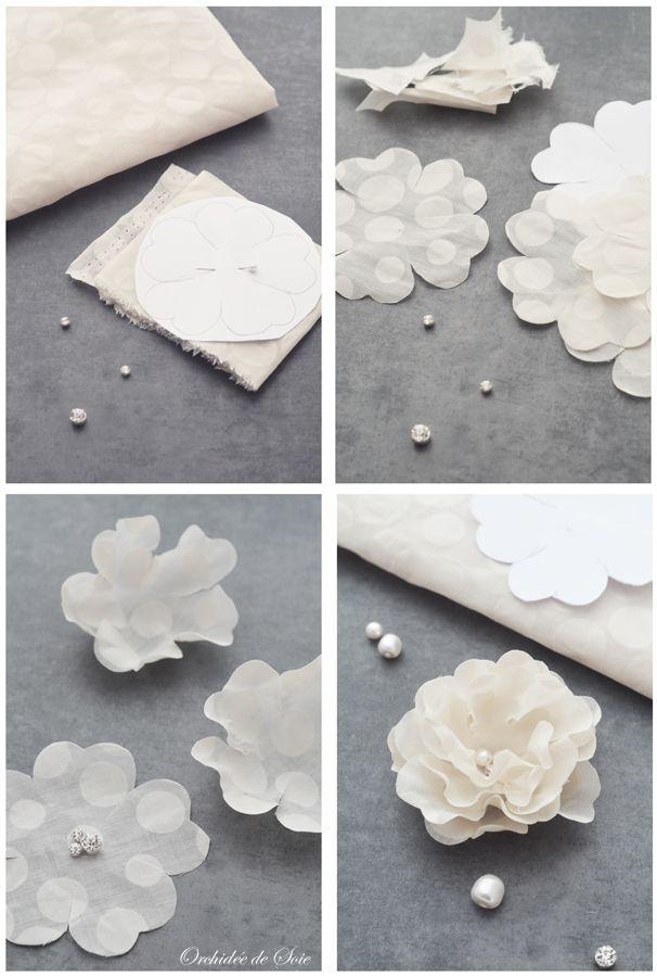 faire fleur en tissu pour mariage coudre pinterest fleurs en tissu tissu et mariages. Black Bedroom Furniture Sets. Home Design Ideas