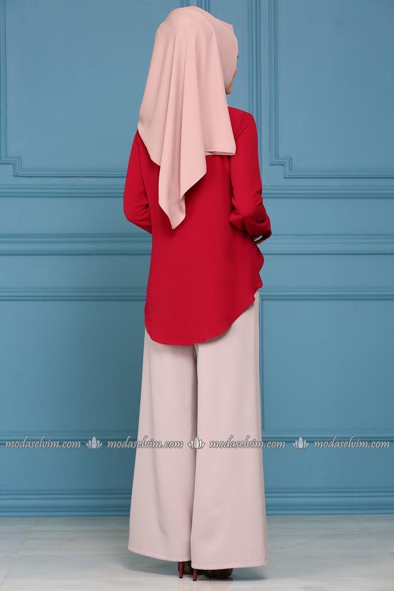 Moda Selvim Salas Pantolon Msm031 Bej Mode Mode Hijab