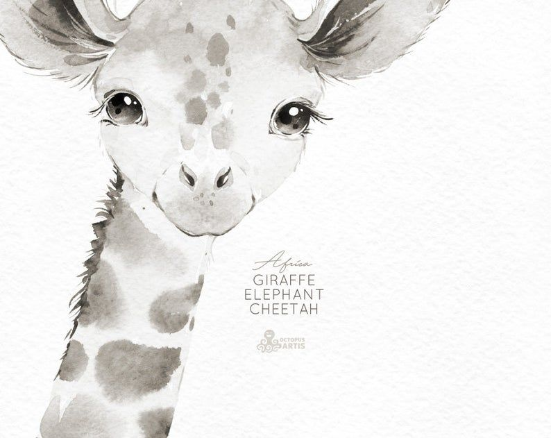 Black And White Giraffe Elephant Cheetah Little Animals Etsy Animal Clipart Animals Watercolor Images