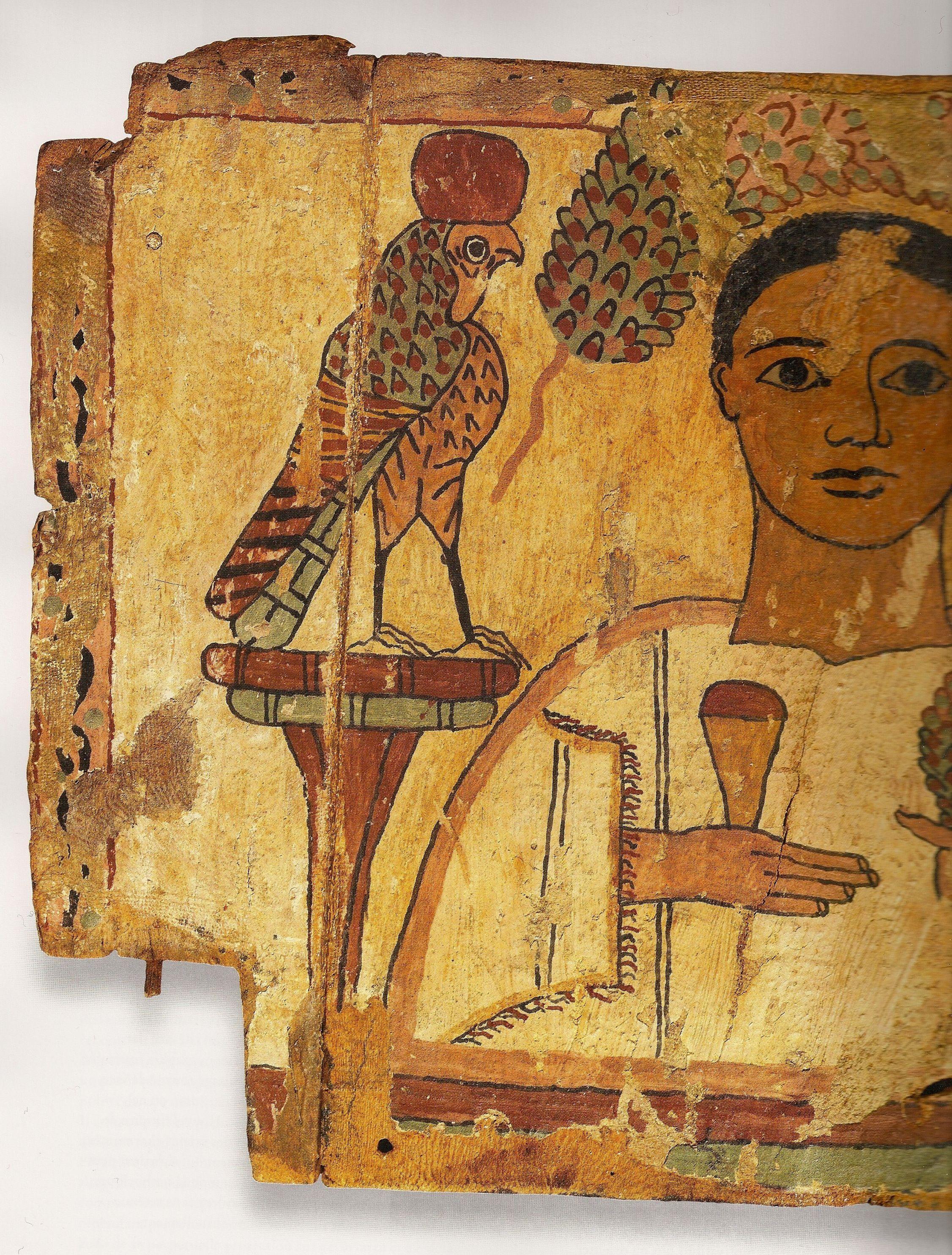 Fragment de cerceuil portrait de defunt et dieux faucons - Dessin contour ...