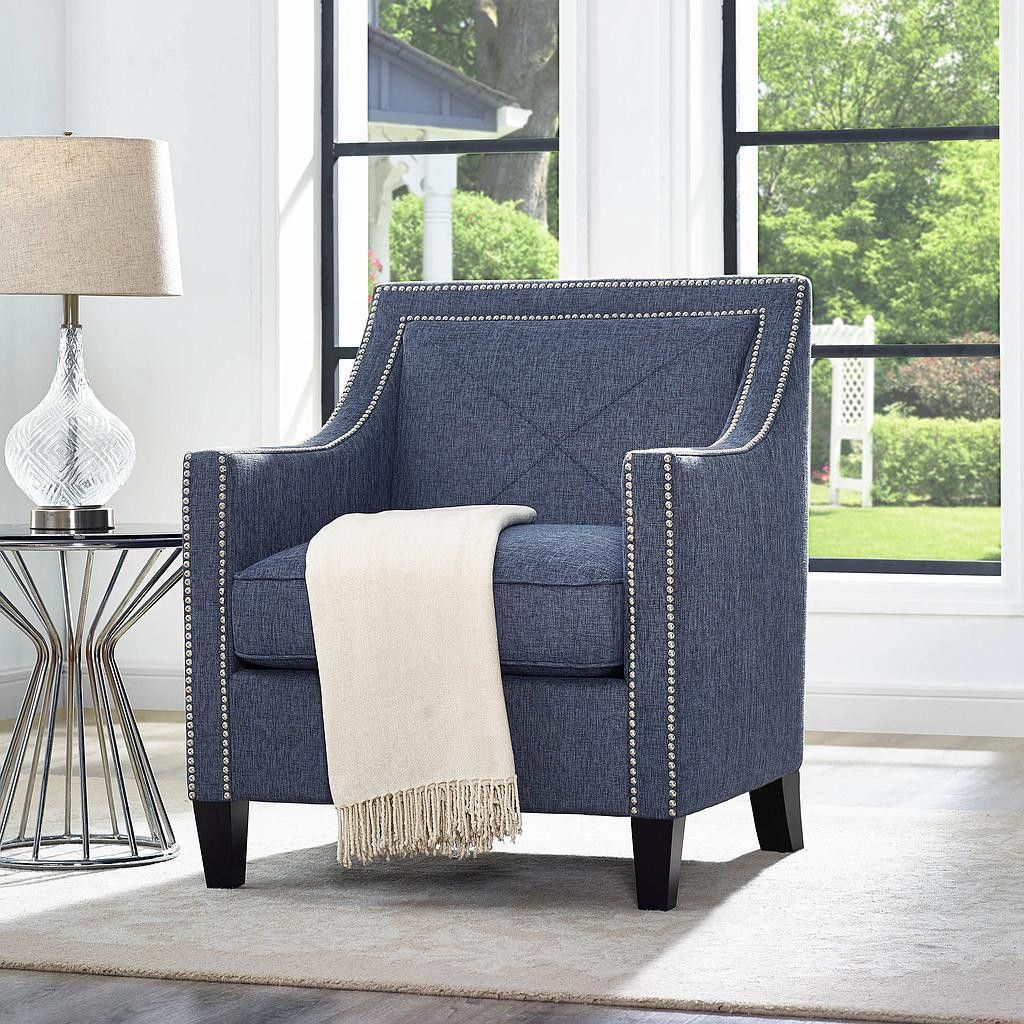 Asheville Blue Linen Chair TOV-A121This handmade chair is crafted ...