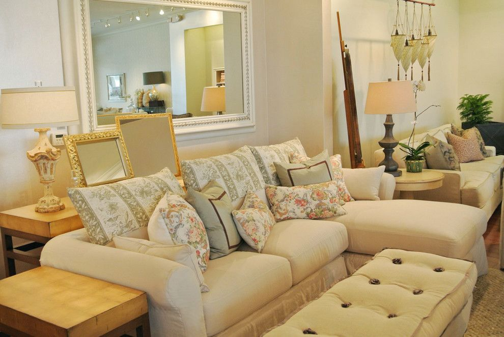Romantic Monterey Slipcovered Chaise Sectional With Floral Pillows