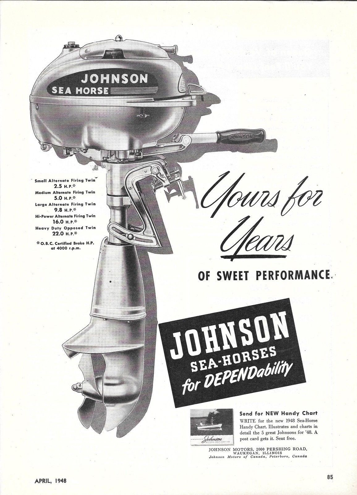 1948 johnson motors ad the sea horse outboard motor for 4 horse boat motor