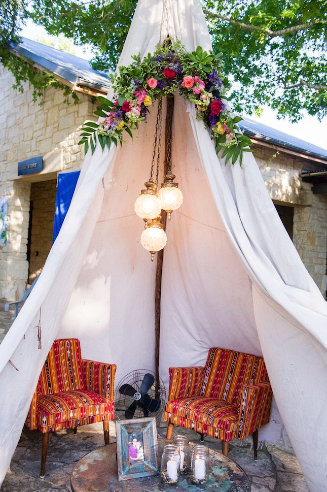 Add boho vibes to your wedding with a teepee.