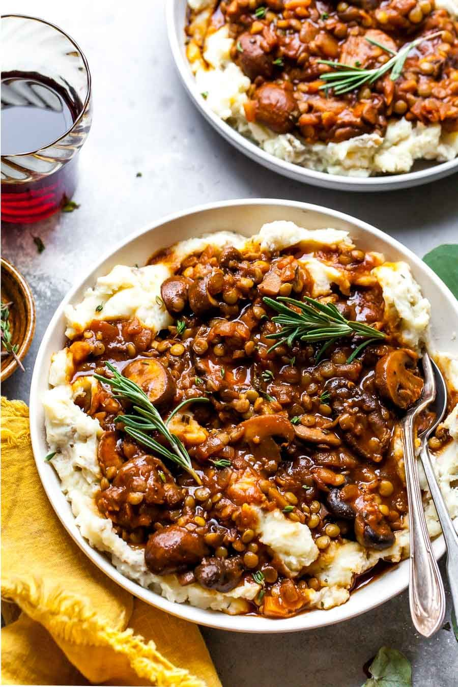 Lentil and Mushroom Stew over Potato-Parsnip Mash | Dishing Out Health