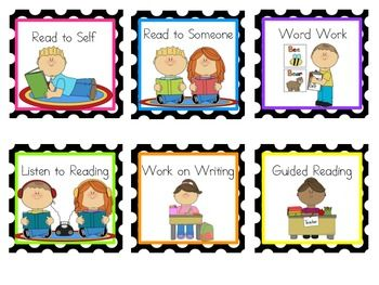 Reading and Math Center Rotation Cards (editable ...