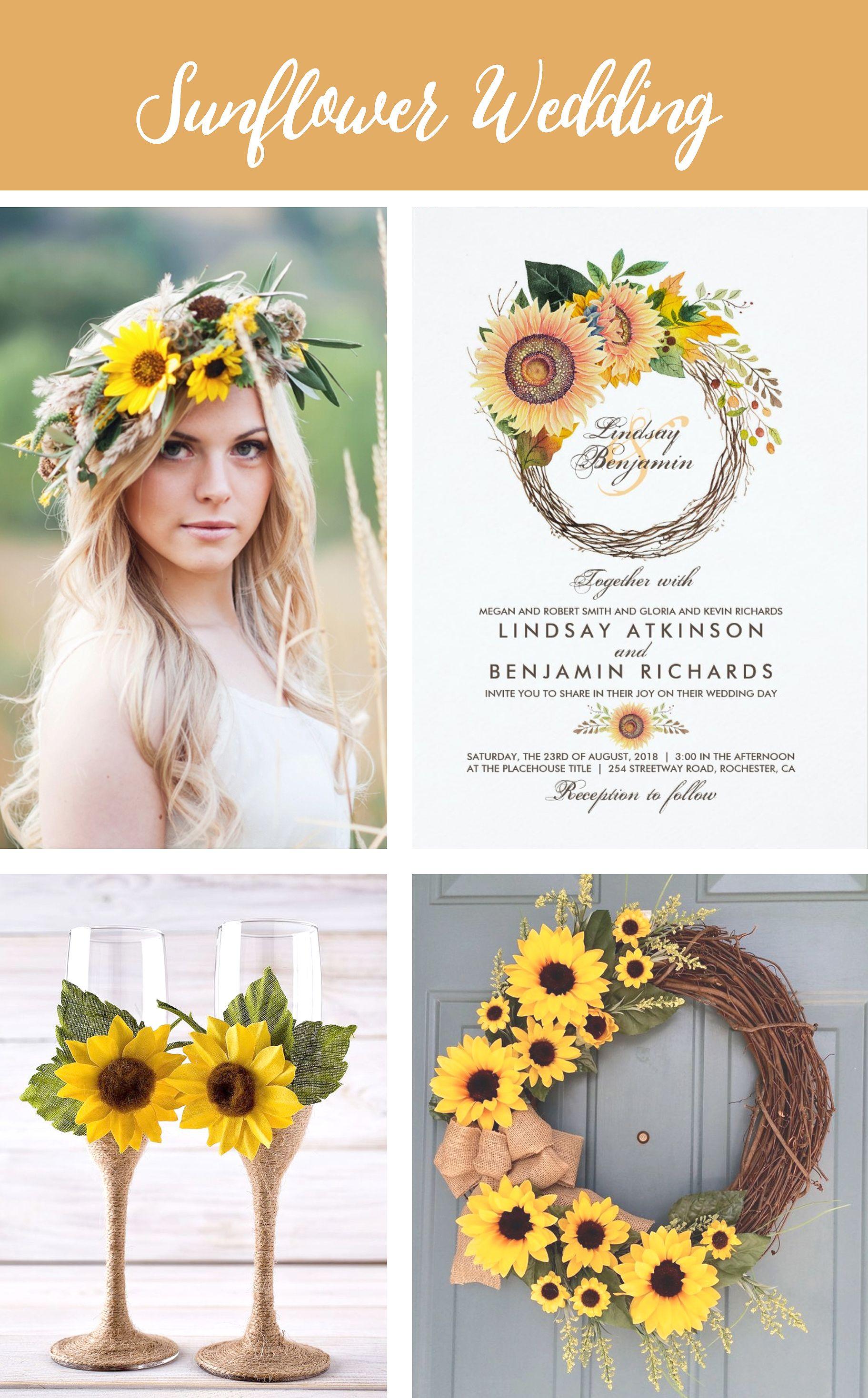 Sunflowers Wreath Rustic Fall Wedding Invitation | Pinterest ...